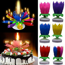 h Cake Topper Birthday Lotus Flower Decoration Candle Blossom Musical Rotating