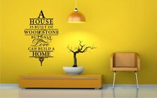 A HOUSE IS BUILT OF WOOD & STONE BUT ONLY LOVE Wall Art Vinyl Sticker HFAM_20