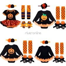 Baby Infant Girls Halloween Party Pumpkin Outfits Romper Headband Warmers Shoes