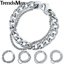 Wheat Curb Cuban Mens Bracelet Double Chain Silver Gold Stainless Steel Polish