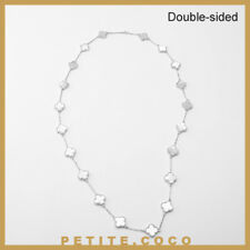 """Handmade 0.6"""" mother of pearl 20p four leaf clover silver necklace"""