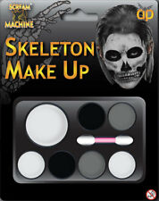 Fancy Dress Make Up Palette Skeleton Black Grey White Applicator Brush Halloween