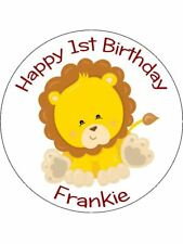 30-90 PRE-CUT EDIBLE WAFER CUP CAKE TOPPERS CUTE BABY LION ROAR ANY TEXT NAME