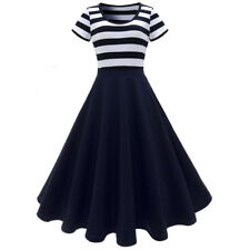 1950s Vintage Women Retro Striped Rockabilly Pinup Housewife Swing Prom Dress