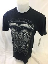 Mens NEW AFFLICTION T Shirt DEATH TIME BLACK LIVE FAST Size Large A10835 NWT