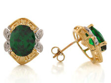 10k or 14k Two-Tone Gold Simulated Emerald Elegant May Birthstone Earrings