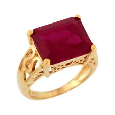 10k or 14k Yellow Gold Octagon Simulated Ruby Detailed Filigree Band Ladies Ring