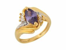 10k or 14k Two-Tone Gold Marquise Cut Simulated Amethyst White CZ Ladies Ring
