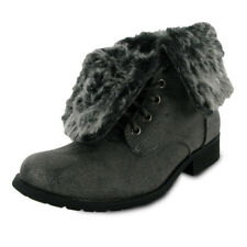 BNIB NEW LADIES GREY FAUX FUR MILITARY BOOTS SIZE 3-8
