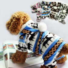HOT Deer Pattern Coral Velvet Pet Dog Cat Warm Clothes Jacket With A Hat