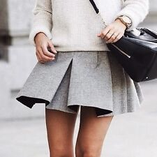 ZARA Studio Box Pleat Mini Skirt in Grey Wool Pleated Bloggers Sold Out All Size