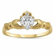 GOLD Over Sterling Silver Irish Celtic Claddagh Heart Ring Size 6 7 8 9  L N P R