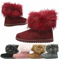 WOMENS ANKLE BOOTS LADIES SNUGG SHOES FUR LINED FLUFFY FLAT WINTER SNOW SIZE NEW
