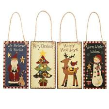 Christmas Wooden Plaque Santa Claus Snowman Christmas Tree Deer Hanging Sign