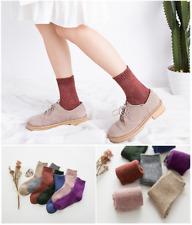 5 Pairs Womens 100%Cashmere Wool Thick Warm Dress Casual Soft Solid Winter socks