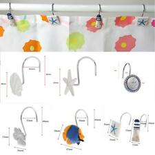 12x Decorative Marine Style Resin Hook Rolling Shower Curtain Hooks Rings Holder