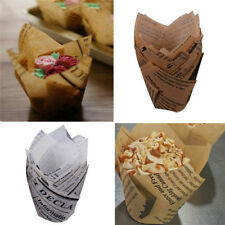 50Pcs Tulips Cupcake Liners DIY Paper Cake Baking Cup Muffin Cases Weeding Party