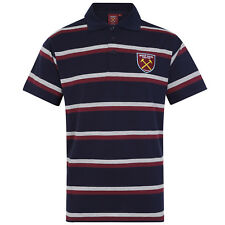 West Ham United FC Official Football Gift Mens Striped Polo Shirt