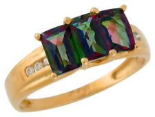 10k or 14k Yellow Gold Mystic Topaz and Diamond Classic Beauty Ladies Ring