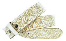 Men's Genuine Leather Belt - White Waistband strap with brass snaps for men