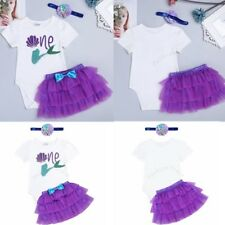 3pcs Toddler Newborn Baby Girl Romper with Tutu Skirt  Outfits Set Clothes lot