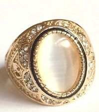 Gold Deco Cocktail Ring Plated Crystal Cats Eye Vintage Size 9 10 USA Seller