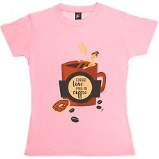 Heart Broken Coffee Lover Forget Love Fall In Coffee Womens Ladies T-Shirt