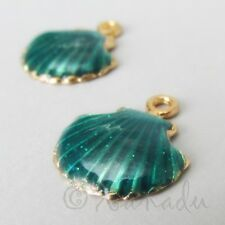 Scallop Shell 18mm Gold Plated Teal Enamel Beach Charms C1797 - 2, 5 Or 10PCs