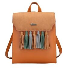 Pu Leather Square Shape Tassel Decorated Backpack For Teenager Girl X200