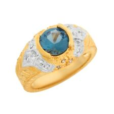 10k or 14k 2 Toned Gold Simulated Blue Zircon White CZ Etruscan Band Ladies Ring