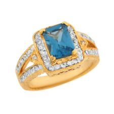 10k or 14k Two Tone Gold Simulated Blue Zircon White CZ Open Band Ladies Ring