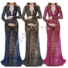 Maternity Sexy Deep V-Neck Long Sleeve Lace See-through Maxi Dress Size #M-4XL