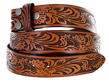 Western Style Solid Brown Leather Belt Strap w/ Snaps for Interchangeable Buckle