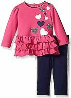 Hartstrings Infant Girls 2 Piece Pink Ruffle Knit Top and Pant Set