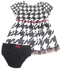 Hartstrings Infant Girls Houndstooth Shantung Dress and Diaper Cover Set