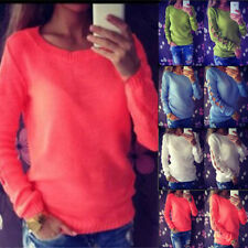 UK Autumn Womens Ladies Hollow Out Sweater Jumper Knitted Casual Tops Blouse