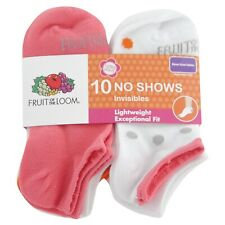Fruit of the Loom Girls No Show Socks 10 Pair