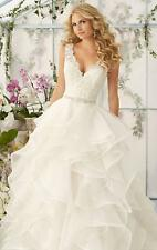 New White Ivory Appliques V-neck Tiered Wedding Dress 2 4 6 8 10 12 14 16 18 H37