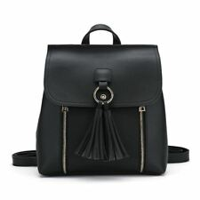 Tassel Decorated Pu Leather School Bag Small Backpack For Teenager Girl