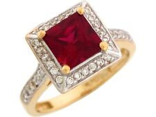 10k or 14k 2 Tone Gold Simulated Garnet White CZ January Birthstone Ladies Ring