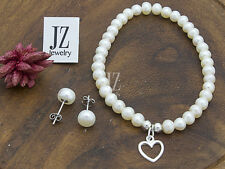 Freshwater Pearl Bracelet/Anklet with Sterling Silver 10mm Heart Charm. Studs.
