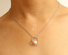 Sterling Silver Freshwater Pearl Pendant Heart with Sterling Silver Chain.Studs