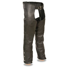 Mens Premium Black NAKED LEATHER CHAPS Fully Lined Soft Motorcycle Biker Pants