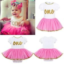 Baby Girl 1st First Birthday Dress Romper One Year Crown Tutu Skirt Outfits Tops