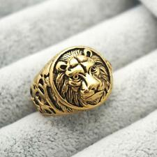 Stainless Steel Lion Ring Vintage Gold Lion Ring Metal Engraved Size 7 -13
