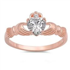 925 Sterling Silver + Rose Gold Irish Celtic Claddagh Ring Clear CZ Sz 5-12