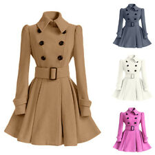 Womens Double Breasted Trench Coat Jacket Slim Long Lapel Winter Parka Dress
