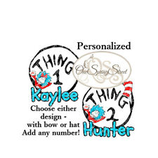 Dr. Seuss Iron On Transfer Personalized Thing 1 2 ANY NUMBER Birthday Vacation