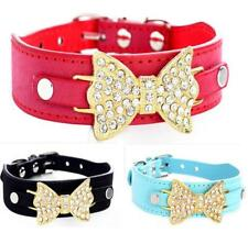 Bling Rhinestone Dog Collars PU Leather Cute  Pet Puppy Collars Poodles S M