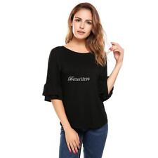 Women Casual Ruffle Sleeve Round Hemline O Neck Solid Loose Pullover BF9